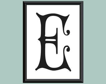 Typography DIGITAL PRINT Monogram Initial Wall Art Carmencita Letter E 5x7