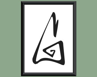 Typography Giclee Print Monogram Initial Wall Art Farewell Eternity Letter G