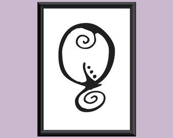 Typography Giclee Print Monogram Initial Wall Art SpaGirl Letter Q