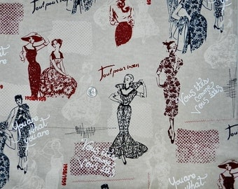 French and English You Are What You Are Fashion - Fabric by the Yard