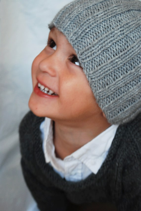 Hand Knit Ribbed Hat Toddler to Youth in Light Grey