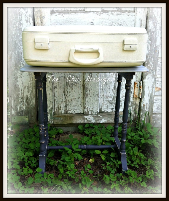 Shabby Chic Vintage Leather Painted Suitcase Chalk Paint French Chic Paris
