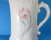 READY TO SHIP Ceramic Pitcher with Flower - 7 1/2 inches, handmade, decal