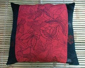 """Handmade kimono silk cushion pillow, birds, butterflies and bamboo in glorious red and black Japanese recycled silk fabric. 40cm 16"""" square."""