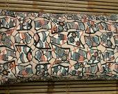 KATAZOME silk screen Vintage Kimono silk cushion pillow, hand sewn silk crepe and rinzu weave black crepe. OOAK 60x35cm oblong.