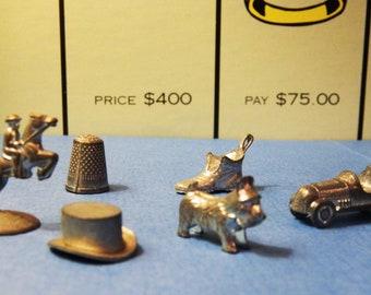 6 Monopoly Game Pieces  - Vintage Classic original tokens - random pieces
