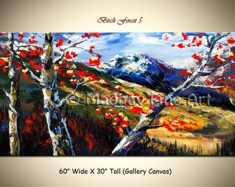 SALE Alps painting; Original art, Acrylic painting, Landscape Painting, Tree art on Canvas by Madhav