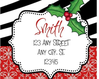 Christmas Address Labels, Red Damask Holly Labels Stickers for Party Favors, Gift Tags, Address Labels