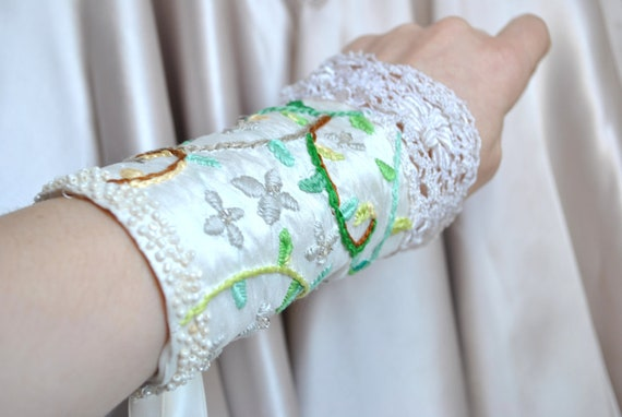 HALF PRICE SALE - Hand Embroidered Silk Fabric Ivory Cuff - 'Forest Flowers'