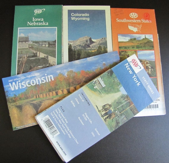 Lot of 15 Vintage ROAD MAPS for your Repurposed, Recycled, Upcycled Craft PROJECTS
