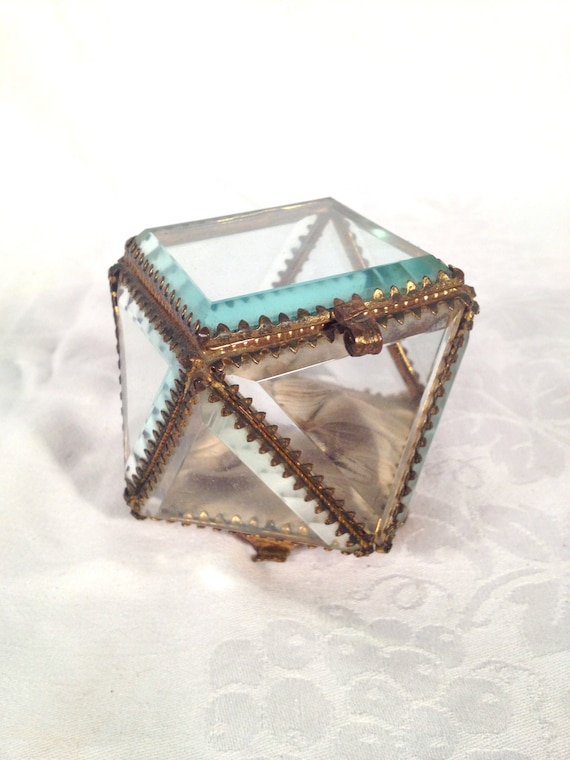 victorian jewelry casket small glass jewelry box glass