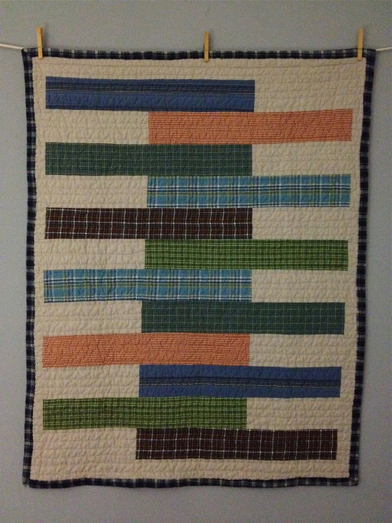 Quilt Patterns From Men S Shirts : plaid mens shirts baby quilt by ellengracequilts on Etsy