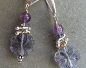 Carved Floral Gemstone Earrings with Fluorite, Amethyst and Sterling Silver.