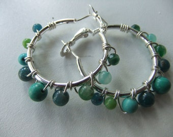 Yummy Gems CHAKRA  EARRINGS. 30mm Sterling Silver Wire Wrapped Assorted Genuine Gemstones Hoop Spring Back Earrings.