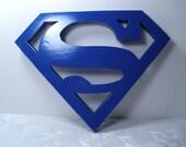 "Superman Wood Logo Shield Wall Art or Key Holder Solid Pine 10.5"" x 8"""