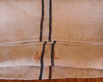 Antique Vintage 1940's Primitive Homespun Hemp Linen Fabric Feed sack Home Crafts