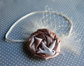 Vintage Inspired Satin Flower with White Bird, Feathers and Netting - For Baby or Adult