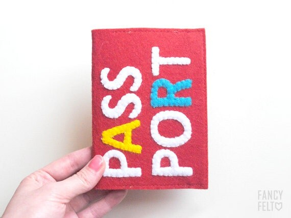 SALE 20%OFF Funny red felt passport case with inscription