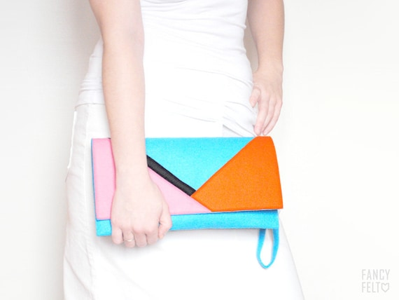 Blue pink orange and black geometric felt clutch bag