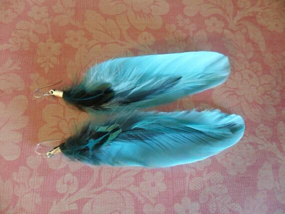 Blue Lagoon Feather Earrings
