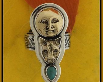 Tabra Moon Goddess and Jaguar Ring ER1008