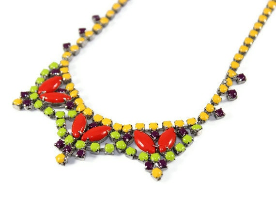 Vintage Hand Painted Multi Colored Necklace