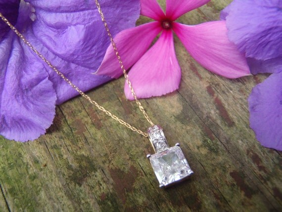 Solid 14k Yellow Gold Cubic Zirconia Pendant and Necklace