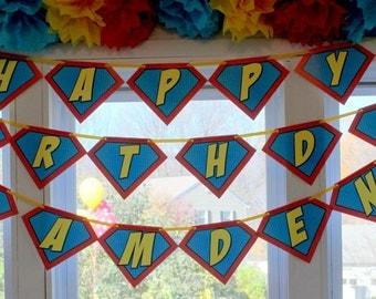 Superhero Symbol • Happy Birthday Banner • CUSTOM with Name • PRINTED