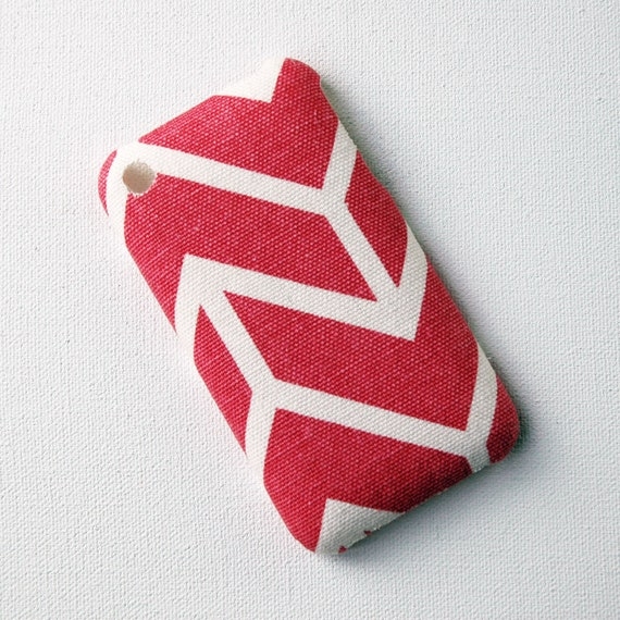 Recycled iPhone Case, iPhone 3 Case, Pink and White Stripe Chevron Fabric