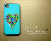 Apple iPhone 4 4G 4S 3D Printed Matte  Case Skin Cover Vintage Teal Heart Candy Design Available in Black, Clear, or  White Hard Case.