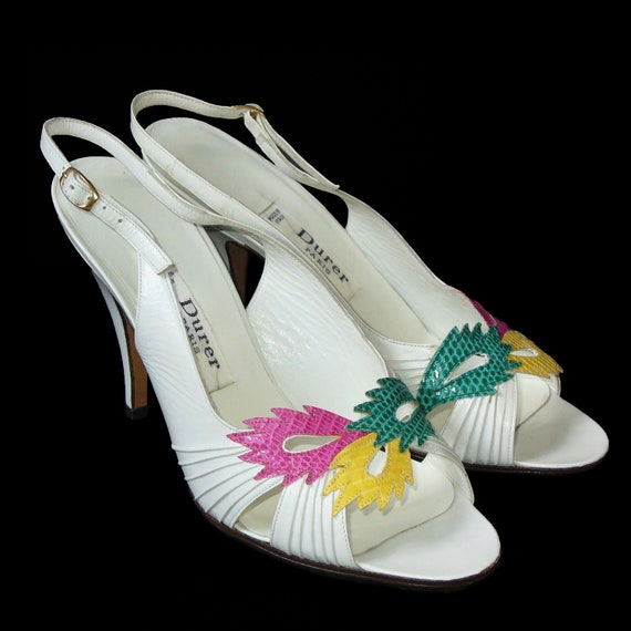 RESERVED - Durer 1980s Vintage Shoes Heels Sandals White Leather Snake Pink Yellow Green EU 37/US 6.5 Unworn New-Old Stock
