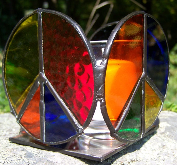 Stained Glass Peace Sign Candle Holder