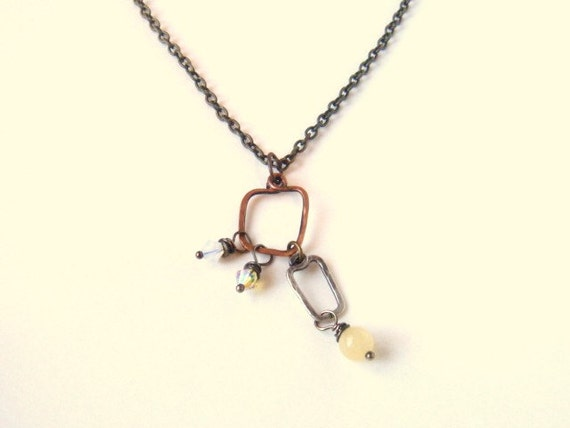 Mixed Metal Jewelry Geometric Copper And Sterling Silver Links Yellow Crystal And Chalcedony Dangle Beads