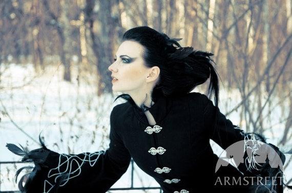 """Goth Black Coat """"Blackbird""""; long woolen coat; black coat; elven garb"""