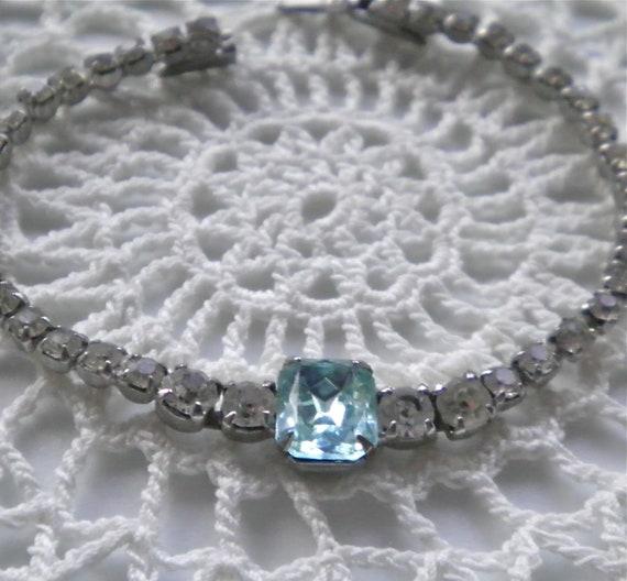 RESERVED Vintage Rhinestone Bracelet c1950  Aqua Blue and Clear