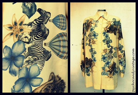 Vintage Clothing / 80s Beige Blouse Floral Animal Pattern / Fall Fashion / One Size