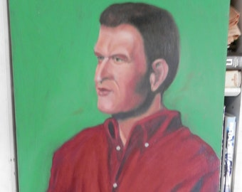 Original Oil Painting Portrait of a Man in red shirt,green background,Oil on Canvas