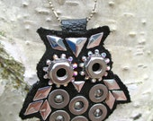 Industrious Owl (Black) -- Necklace-Swarovski Crystals Industrial Hardware Black Leather