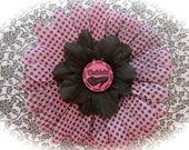"Pink and Black Polka Dot Flower Hair Clip: 4"" Diva Daisy Flower Separated with Black Netting"