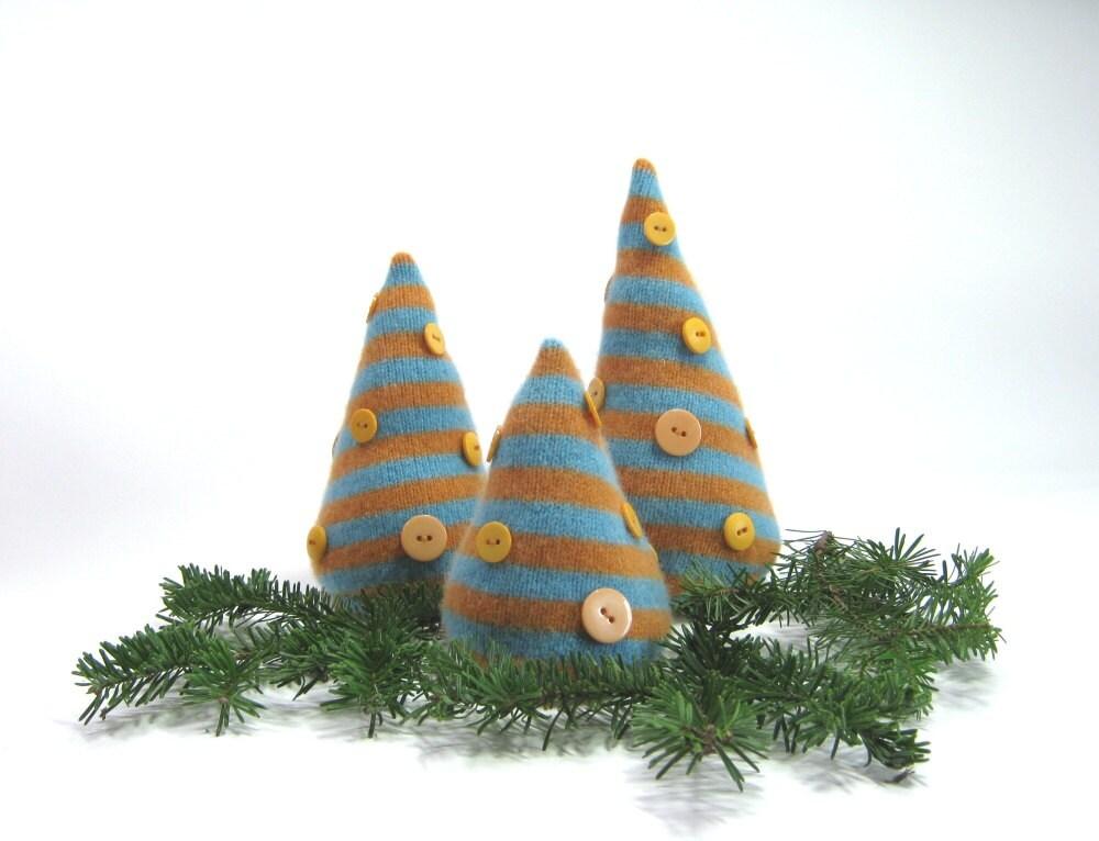 Turquoise Orange Stripes Christmas Trees Set By