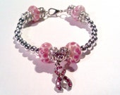 Cancer Awareness Bracelet - Pink and Silver Beaded