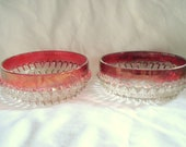 Ruby Flash Glass Candy Dishes Diamond Pattern Mid-Century 1950s Vintage
