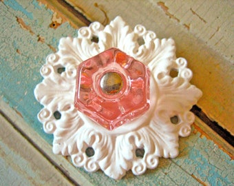 Shabby Chic Glass Knob with Floral Back