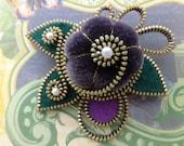 Soft Mauve Velveteen Zipper Flower Brooch