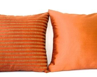 Peach Throw Pillow, Pillow Cover Set, Throw Pillow Set, Peach, Coral Throw Pillow, Cushion Cover, Decorative Pillows, 18x18- Peach Delight