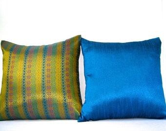 Blue Gold Pillow Cover Set, Brocade Pillows, Blue Pillow Cover, Throw Pillows, Gold Pillow, Blue Pillows, Royal, Luxurious, 18x18 pillows