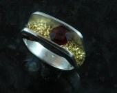 Floating garnet fine silver and 22 kt gold ring sz 7 - also available by custom order