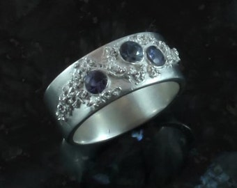 Stardust -  Spinel and fine silver  ring - sz 7
