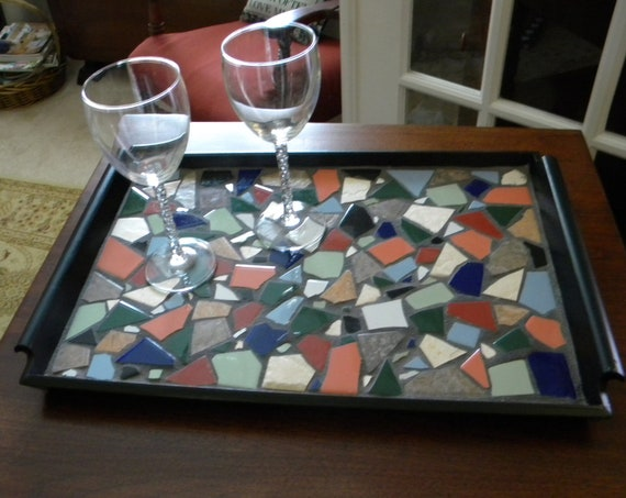Hand Tiled Wood Serving Tray