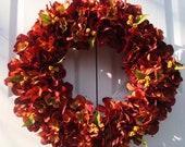 Burnt orange hydrangea wreath, fall wreath, autumn wreath, front door wreath